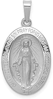14k White Gold Miraculous Medal Pendant Charm Necklace Religious Fine Jewelry Gifts For Women For Her