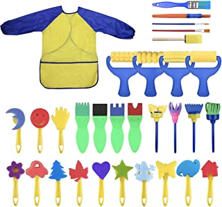 YallFairy Washable Paint Brushes Set for Toddler Kids Early Learning Toys Finger Paints sponges Art Supplies Gifts -nontox...