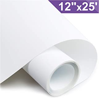 ARHIKY Heat Transfer Vinyl HTV for T-Shirts 12Inches by 25 Feet Rolls(White)