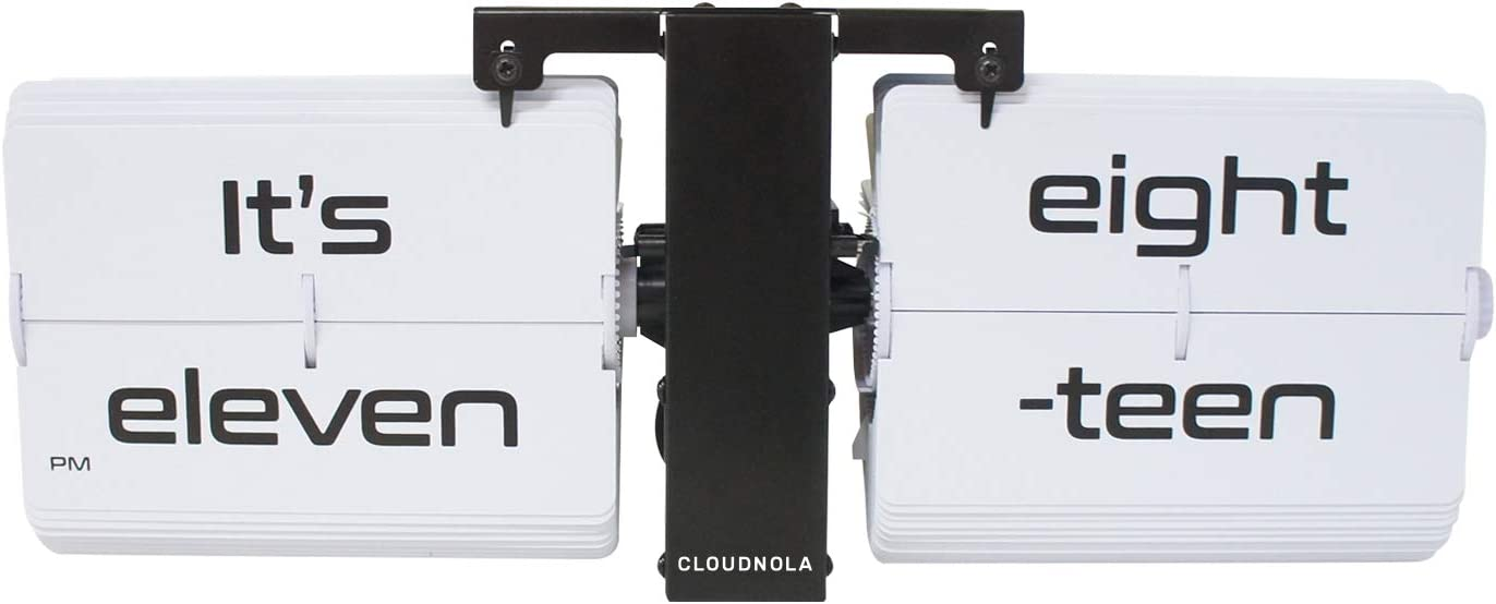 Cloudnola Flipping Out Text Wall and Tabletop Flip Clock, Black and White, Battery Operated Digital Display