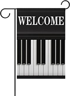 Musical Piano Music Notes Welcome Garden Flag 12 X 18 Large Inches, Double Sided Outdoor Yard Yall Garden Flag for Wedding Party House Home Decor