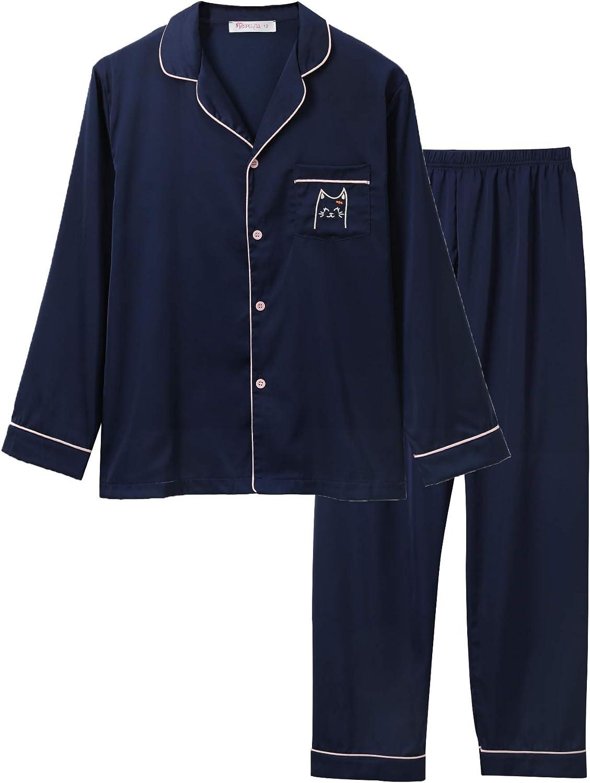 Satin Pajamas for Girls – Coat Style Unicorn Long Sleeve Silk Button Down PJ Set Size 6-16