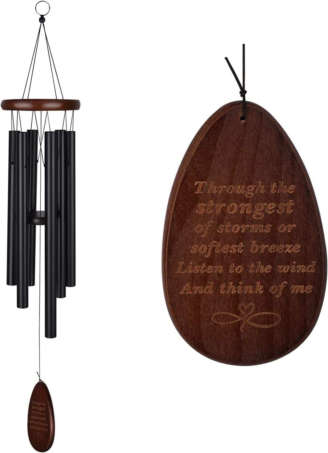 Memorial Wind Chimes Personalized Outdoor Sympathy Wind Chimes Gift Keepsake for Deceased Loved Aluminum Tubes Wooden Wind Bell for Garden/Patio Deco 30 Inch