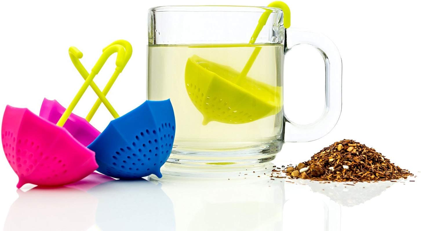 Worldoor Pack Of 4 Pcs Umbrella Tea Infuser Set Cute Fun Colorful Strainer Pieces Works Like A Tea Ball To Brew Loose Leaf Herbal Teas Right In The Cup Great Gift For Tea Lovers