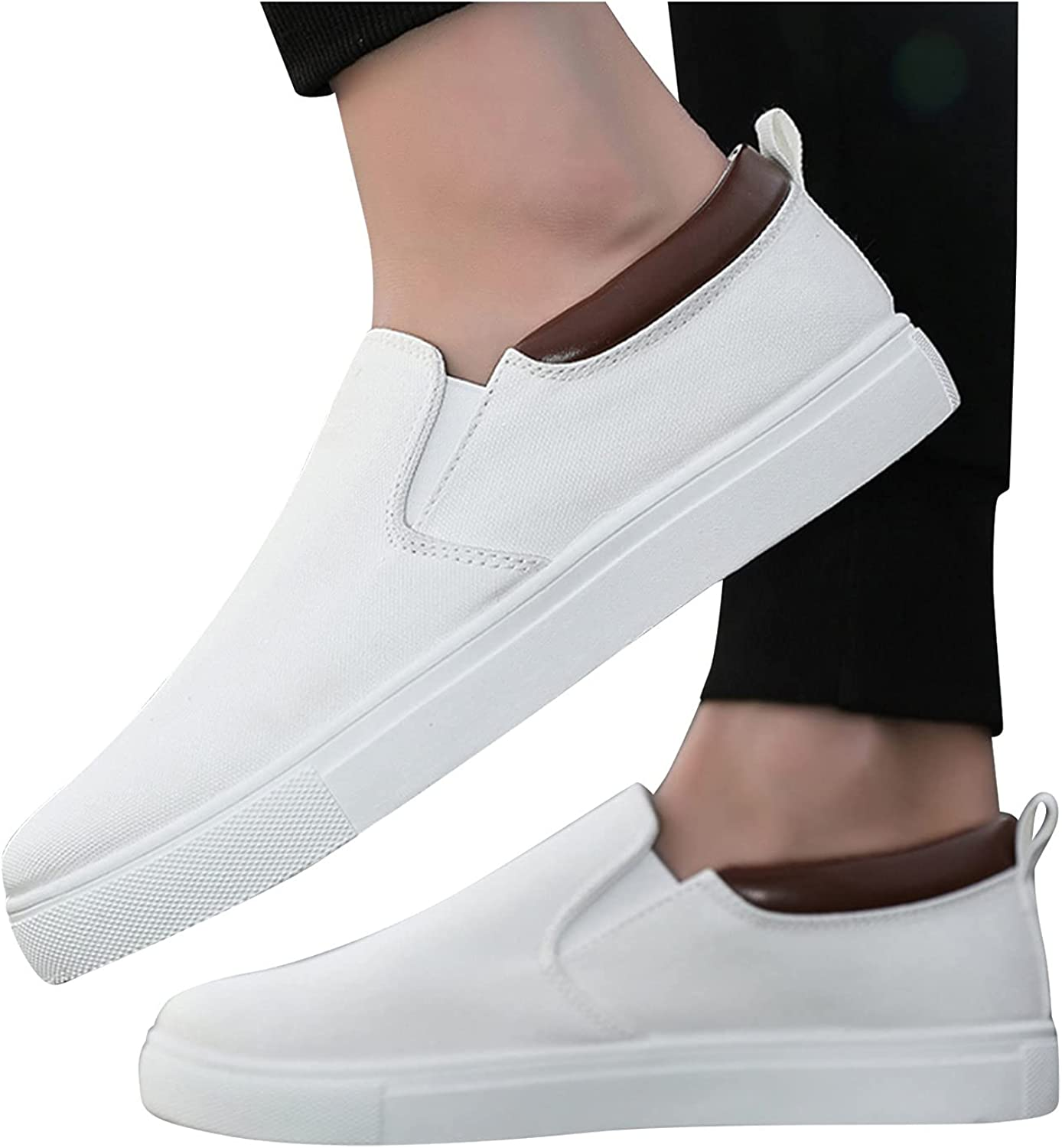 Hbeylia Men's Slip On Canvas Shoes Lightweight Skateboarding Shoes Fashion Casual Walking Sneakers Slip On Loafers Driving Shoes Comfortable Skate Shoes For Men Male
