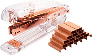 URlighting Acrylic Stapler (Clear/Rose Gold) - Desktop Stapler with 1000 Pieces Staples, 25 Sheets Capacity for Office Des...