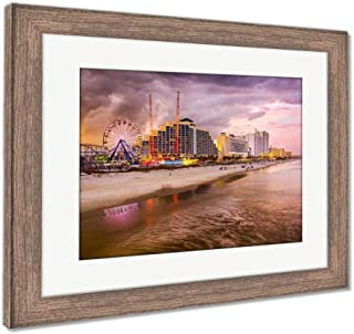 Ashley Framed Prints Daytona Beach Skyline, Wall Art Home Decoration, Color, 26x30 (Frame Size), Rustic Barn Wood Frame, AG5919823