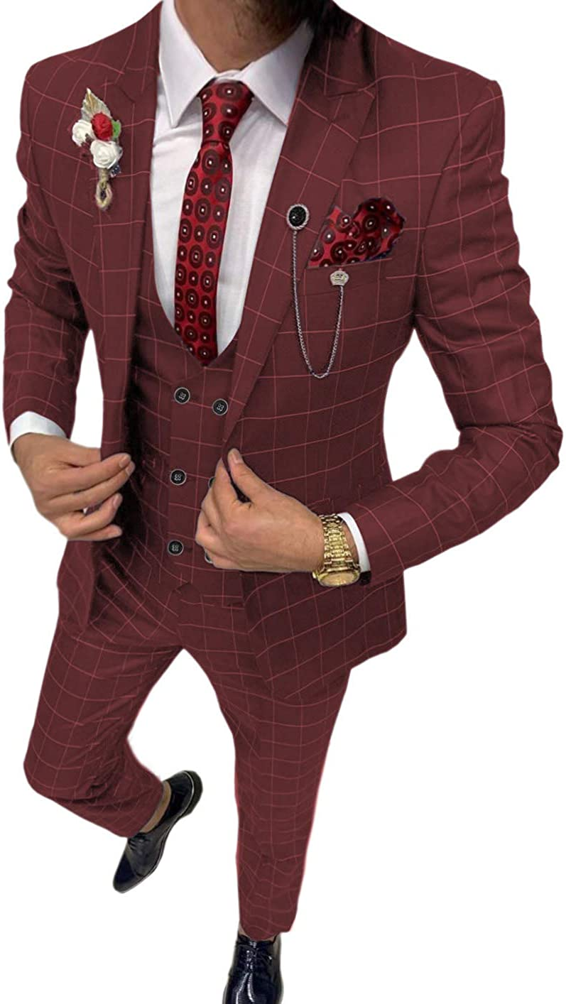 Aesido Business Men's Suits Slim Fits 3 Piece Double Breasted Breathable TR Plaid Thin Prom Tuxedos Blazer Wedding Grooms