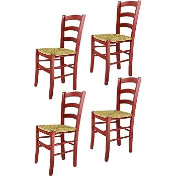 Chaise en bois massif d' hêtre finition rouge laquée et