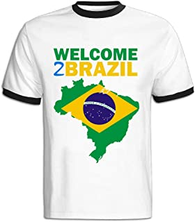 Man Welcome To Brazil 100% Cotton Red T Shirt