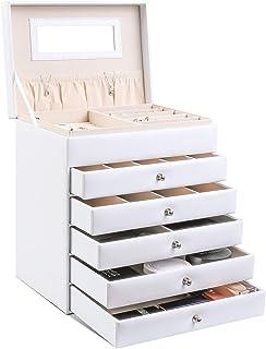 Femor Boîte à Bijoux Femme, Coffre à Bijoux avec tiroirs, Boîte de Rangement avec Miroir/Couvercle en Verre, pour Boucles ...