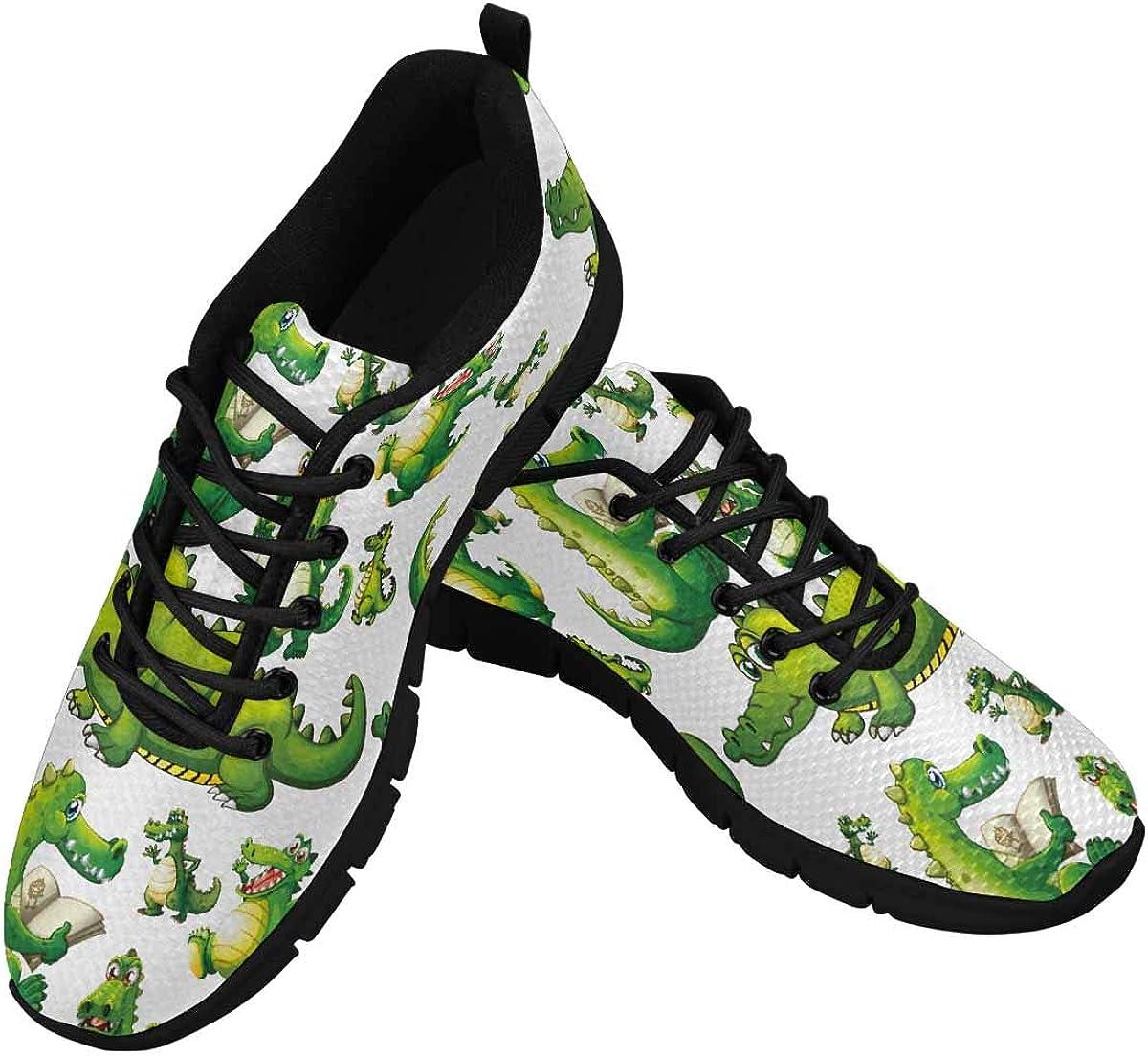INTERESTPRINT Cute Crocodile Women's Walking Shoes Lightweight Casual Running Sneakers