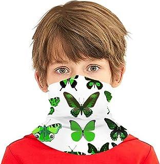 Verctor Catorce Mariposas Verdes aisladas multifunción Headwear Cuello Polaina Balaclava Cubierta Facial para niños