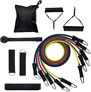 Mainstayae Resistance Bands Set (11pcs) Exercise Bands with Door Anchor Handles Ankle Strap and Carrying Bag Legs Ankle St...