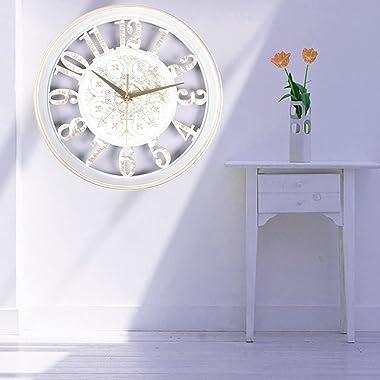 PuHai 12 inch Retro Wall Clocks Vintage Silent Non Ticking Quality Quartz Battery Operated Easy Read Home Decor Decorative Wa