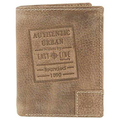 EASTLINE Germany Leder Geldbörse Portemonnaie Geldbeutel Brieftasche Portmonee Texas 10027, Farbe:Braun