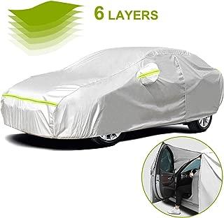 Favoto Cubierta de Coche Impermeable Funda de Coche Exterior Anti-UV Transpirable Resistente al Polvo Lluvia Rasguño Nieve al Aire Libre 490x150x130cm Plata