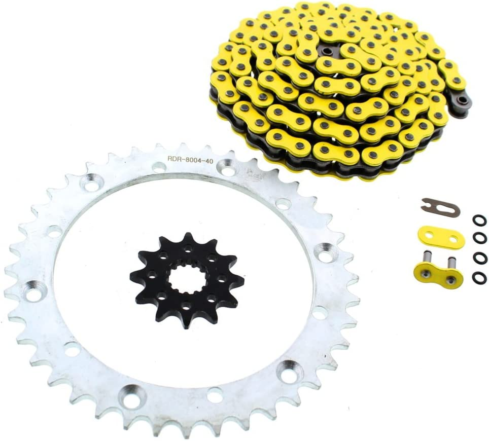 Yellow O-Ring Chain Silver Sprockets 12 wholesale fits Yama 01-05 Manufacturer OFFicial shop 92L 40