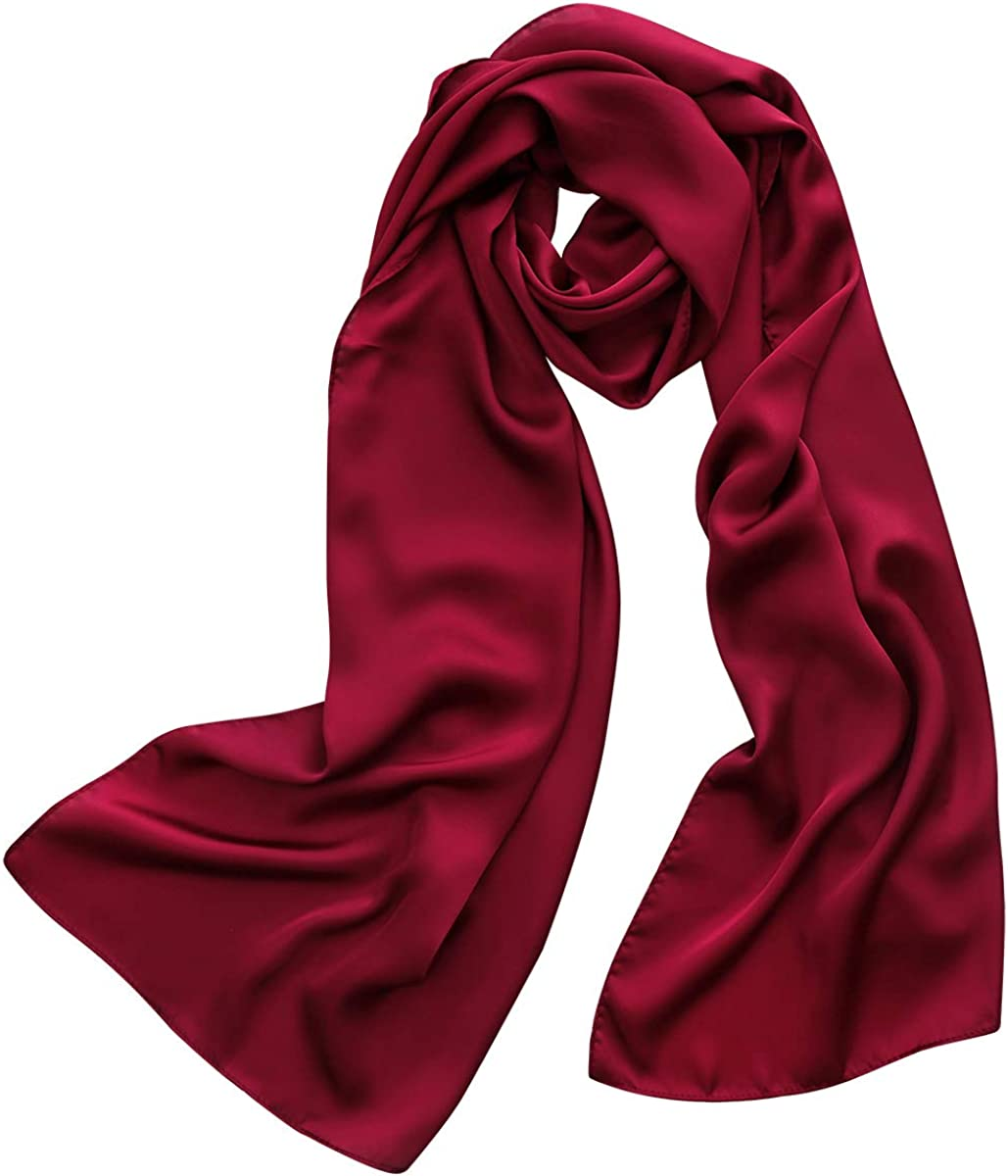 M.Picchu Polyester Silky Scarfs, Longue Scarf Solid Shawl for Women Protection - 18x72 inch