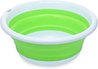 PER-HOME Multi-purpose Collapsible Dish Tub Bowl BPA-Free Round Lightweight Collapsible Wash Basin(Green)