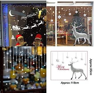 Christmas Theme Window Sticker, Santa Claus Snowflake Decoration Decal Window Stickers Home Decor,43x70cm White