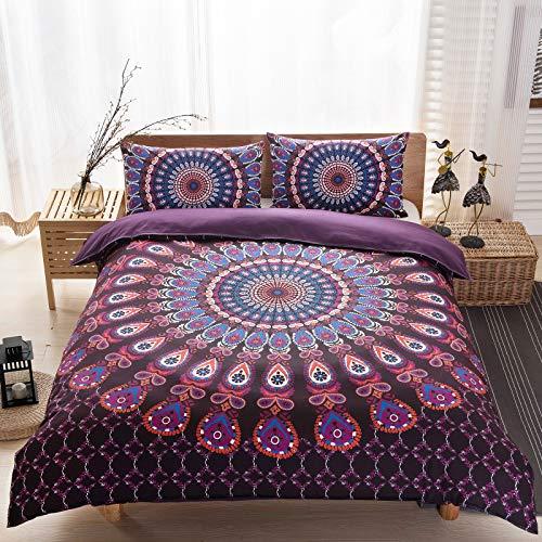 Argstar 3 Pcs Bohemian Duvet Cover King, 3D Purple Mandala Bedding Set, Circle and Paisey Down Comforter Cover, Boho Floral Quilt Cover, 100% Ultra Microfiber, 1 Duvet Cover and 2 Pillowcases