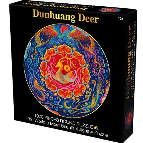 JCXOZ Magic Collection Jigsaw Puzzle -Dunhuang Deer 1000 Pieces Round/Square (24/26.6inch) - Every Piece is Unique, Pieces Fit Together Perfectly (67.5/61cm) (Color : Round)