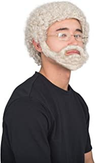 Uncle Drew Adult Hallloween Costume Accessory Wig Beard and Glasses Set Gray