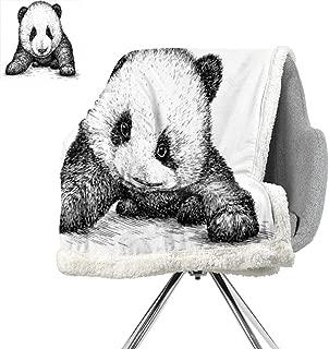 ScottDecor Panda Light Thermal Blanket,Baby Panda Bear Illustration Sketch Style Artwork Asian Nature Wild Animals Theme,Black White,Warm Breathable Comforter for Girls Kids Adults W59xL31.5 Inch