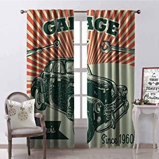Tapesly Cars Shading Insulated Curtain Retro Car and Garage Advertising Poster Style Picture with Grunge Effects 1960s Soundproof Shade W52 x L63 Inch Emerald Orange