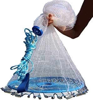 Lawaia Saltwater Fishing Cast Net with Frisbee for Bait Trap Fish Throw Net. Size 4FT/5FT/6FT/7FT/8FT/9FT/10FT/11FT/12FT R...