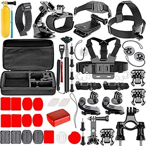 Kit accessori action camera universale videocamera sport compatibile con telecamera GoPro Hero Black Session Fusion valigetta Insta360 DJI AKASO APEMAN Campark SJCAM (57 in 1)