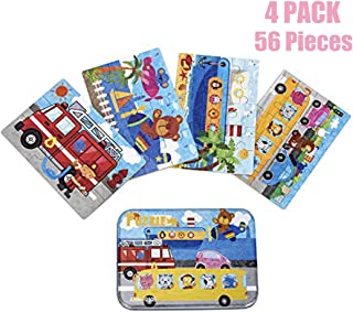 Kids Puzzles for Toddlers 3 Years, 4 in 1 Wooden Jigsaw Puzzles with a Storage Box (Cartoon Vehicle)