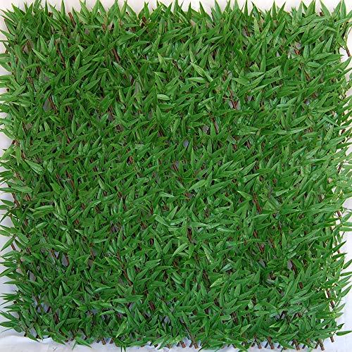tenax Siepe Artificiale con Foglie Traliccio Estensibile in salice, Divy 3D X-Tens Bamboo, 1x2 m, Verde