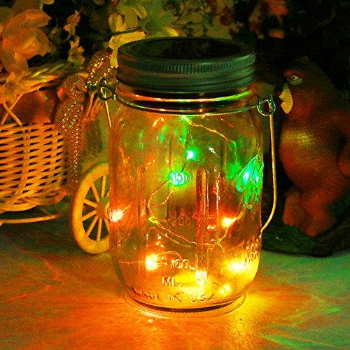 Solar Mason Jar Licht,20Leds Lichterkette im Einmachglas Glas Windlicht Laterne Hängeleuchte Outdoor Solarlampe Balkon Tischleuchte für Außen,Dekoration für Zuhause Party Garten Hochzeit