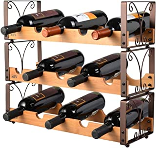 YJT.hjj Wall Rack Vintage Stackable Wine Racks Wood for Table | Wine Bottle Holder | Rustic Wine Holder for Wine Cooler Wi...