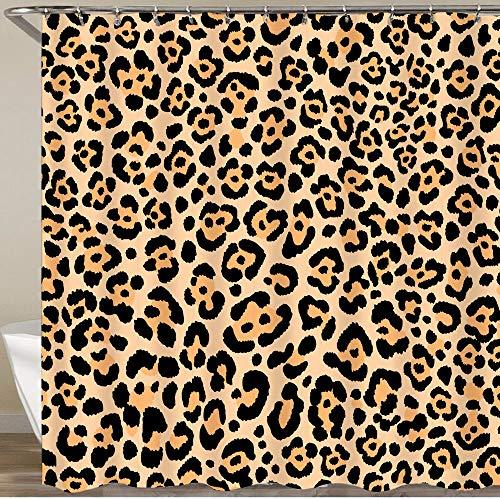 KGSPK Cortinas de Ducha,Estampado de Animales Piel de Leopardo Safari Salvaje Fondo de Piel de Guepardo,Impermeable Cortinas Baño y Lavables Cortinas Bañera 180x180CM