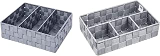WENKO Organiseur de salle de bains Adria avec poignée gris - Organiseur de bain, Polypropylène, 32 x 10 x 21 cm, Gris & Or...
