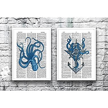 Octopus photo Ship Wheel Anchor set of (2) nautical upcycled dictionary art prints 8x10