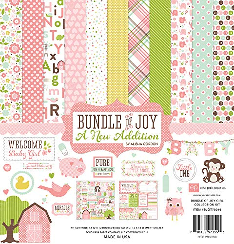 """Echo Park Collection Kit 12""""X12""""-Bundle of Joy/A New Addition - Baby Girl"""