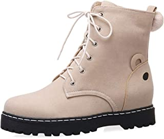 TAOFFEN Women Autumn Ankle Boots Lace up Martin Boots