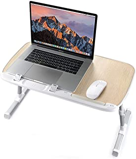 Laptop Desk for Bed, TaoTronics Lap Desks Bed Trays for Eating and Laptops Stand Lap Table, Adjustable Computer Tray for Bed, Foldable Bed Desk for Laptop and Writing in Sofa and Couch Wood
