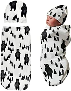Newborn Swaddle Sack with Baby Hat Set Sleeping Sack  Soft  Stretchy Cotton for 0-3 Months Baby Boys Ink Bear Print by TIANNUOFA
