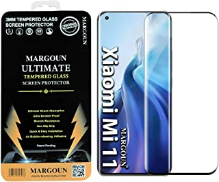 MARGOUN for Xiaomi Mi 11 Screen Protector (6.81 inch) 2021 Tempered Glass 3D Curved, Full Coverage Protective (Black Side)