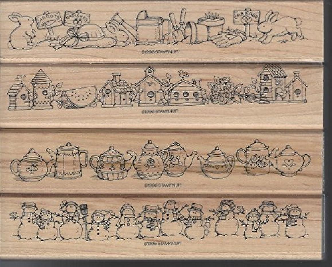 Stampin' Up! 1996 Best Borders Stamp Teapots Garden Snowmen Birdhouse 4 Stamps
