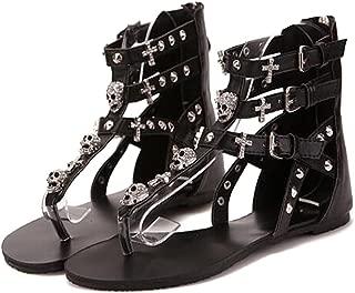 COVOYYAR Women Rhinestone Skull Cross Flat Thong Gladiator Sandals Summer Shoes