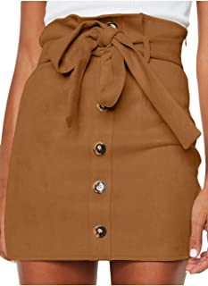 Women's Paperbag High Waist Button Trim Front Belted Faux...