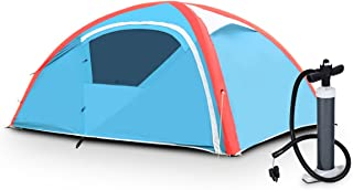 Tangkula Inflatable Tent, Camping Tent for Family, Instant Set Up in Minutes, Windproof and All Weather Resistant Lightweight Outdoor Tent with Hand Pump, Air Tent (2-3 Person)