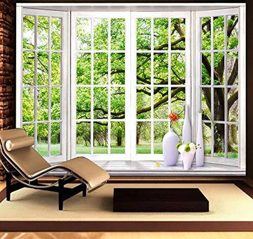 Suwhao Aangepaste fotobehang 3D stereoscopisch groene vensterbank landschap grote wandafbeeldingen muurschildering woonkamer slaapkamer behang 450x300cm