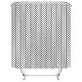 Koongso Cortina de ducha con motivos geométricos, impermeable, color blanco, con impresión rectangular, poliéster, con ganchos, decoración del cuarto de baño